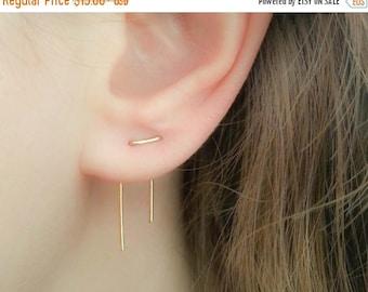 SALE - Double Piercing Earrings-Threader Earrings-Double Lobe Earrings-Double Threader Earrings-Double Piercing-Two hole Earrings-Staple Ear