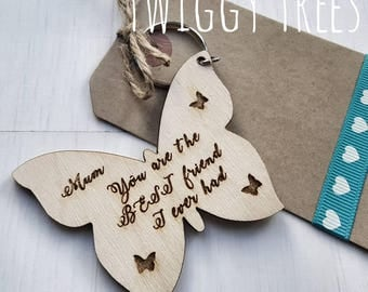 Wooden New Butterfly Best friend  Mothers Day Mum Birthday Christmas  Engraved Keyring Gift mum mummy
