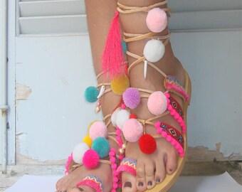 Greek pom pom sandal, boho sandals