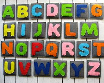 Felt Magnet ALPHABET -  Colorful Felt Letters -Fridge Magnets For a child over 2 years old  - Kitchen decor - Educational  Toddler Toy