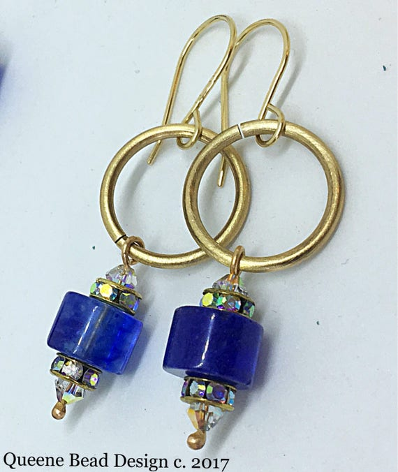 Blueberry Fields Forever Quartz and Brass Earrings #queenebead