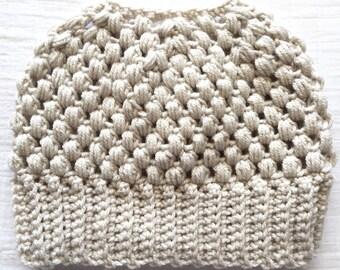 Linen Messy bun beanie crochet ponytail hat gift for her Claire bun beanie adult crochet hat for women