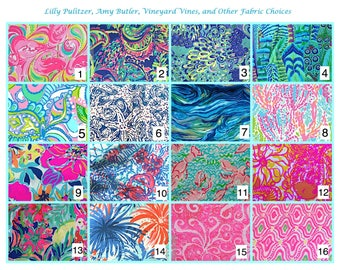 Lilly Pulitzer, Vineyard Vines, Amy Butler, & other fabrics choices for appliqués--listing only for help with fabric selection, not for sale