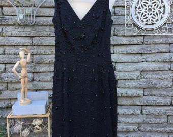 Vintage 1950's Black Beaded Dress * Mamselle by Betty Carol * XS * New Years Eve