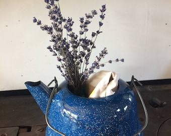Vintage Blue Graniteware Teapot, Speckled Enamel Kettle