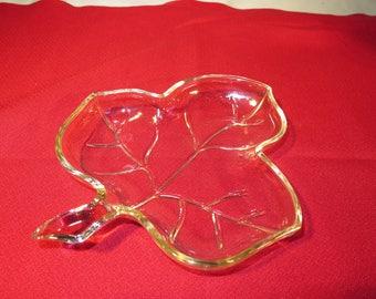 Leaf Shaped Clear Glass Candy Dish