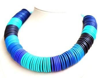 Blue necklace Turquoise jewelry Boho necklace Big Bold Chunky necklace Bib Collar necklaces Statement jewelry Blue Beaded necklace for Women