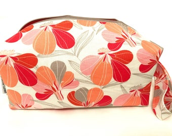 Gray Tropics Cosmetic Bag, Makeup Bag, Travel Bag, Box Pouch