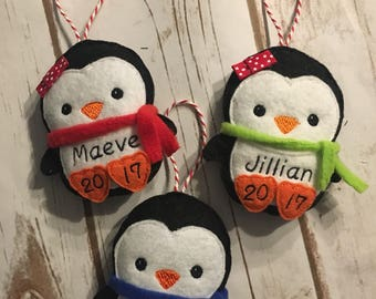 2017 Personalized Felt Ornament - penguin Christmas Holiday Tree - custom name and date - baby's first - 1st - Merry Christmas