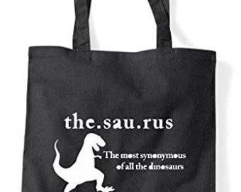 Thesaurus Dictionary Dinosaur Funny Tote Bag Shopper