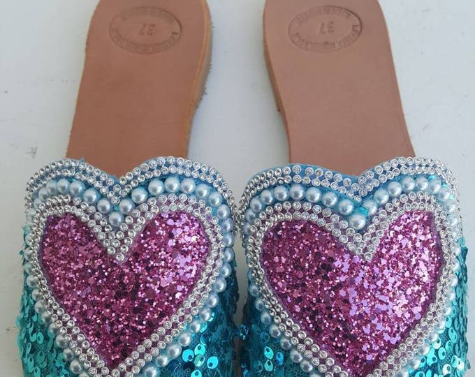 slides /slidessandals/Greek sandals/sparkly/pink/turquoise/glitter/women's shoes/pearls/embellished/leather sandals/handmade/flats/wholesale