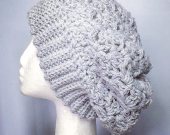 Cari Hat in light Grey . CROCHET slouch hat.