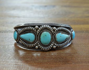 Vintage Southwest Turquoise and Sterling Silver Cuff Bracelet