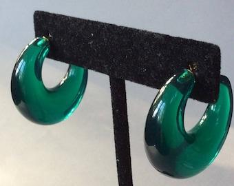 Emerald Green Lucite/Acrylic Hoop Pierced Earrings