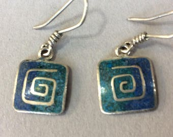 Sterling Silver Crushed Turquoise Pierced Earrings