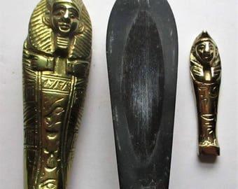 Vintage Egyptian Sarcophagus Paperweight Brass & Granite Stone Hieroglyphics King Tut Mummy Tomb Souvenir