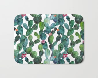 Superior Cactus Bath Mat | Cactus Bath Decor | Bath Rug | Bathmat | Green Bath Mat