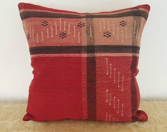 Turkish Decor Black and Red 16x16 Pillow Cover Kilim Cushion Cases