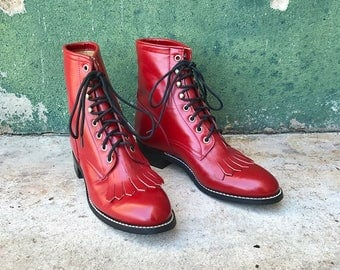 Vintage DEADSTOCK Red Justin Lace Up Boots | 5.5 B | 6 | 7