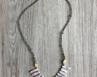 Pink Pearl and Labradorite Fringe Necklace