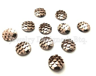 NEW - 10pcs, 8mm Metallic Rose Gold Mermaid Fish Scale Resin Cabochons - Bronze Tone Cabochon - DIY Jewelry Supply - Mermaids Tail