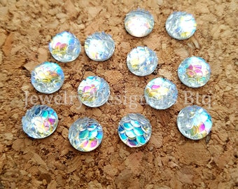 NEW - 10pcs, 8mm Iridescent Opal Aurora Borealis Mermaid Fish Scale Resin Cabochons - Cabochon - DIY Jewelry Supply - Mermaids Tail