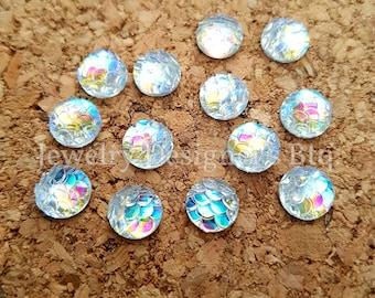 NEW - 10pcs, 8mm Iridescent Opal Aurora Borealis Mermaid Fish Scale Resin Cabochons - Cabochon - DIY Jewelry Supply - Mermaids Tail