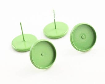 NEW - 20pcs 12mm Bezel - Painted Grassy Green Stud Earring Cabochon Settings DIY Earrings Jewelry Supply Studs Silicone Earnuts
