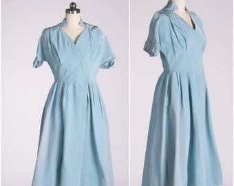 50's Powder Blue Designer Fit and Flare Vintage Dress New Look
