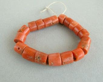 Antique Mediterranean coral, Natural coral, Coral beds, Jewelry, Natural color, 19 beads. Free shipping!!!
