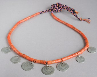 Antique Ukrainian coral necklace with silver coins XVIII century, Mediterranean coral beads, + Gift