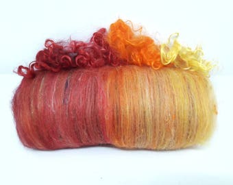Spinning fiber - Surprise carded batt - Mix of various fibers - 40 gr - Choose your color and texture !