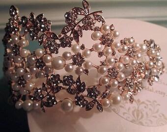 Bridal tiara, rose gold bridal tiara, pearl bridal tiaram, diamante bridal tiara. SOLANGE.