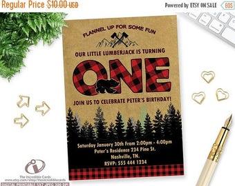 50% OFF SALE LUMBERJACK Invitation, Lumberjack First Birthday Invitation, Lumber Jack, Forest, Wood, Plaid, Wilderness, First Birthday, Digi