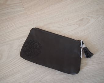 Case for make-up or papers in dark brown faux leather
