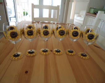 Set of Six Hand Painted Sunflower  Wine Glasses