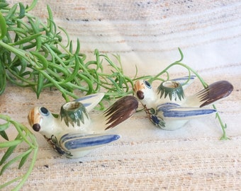 Vintage tonala dove candle holders/set of two 70s clay bird candle holders