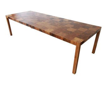 Milo Baughman Patchwork Burl Wood Parsons Extension Dining Table
