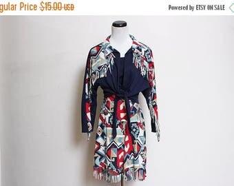 25% OFF VTG 80s Fringe Aztec Western Cowboy Tie Waist Top Skirt Set L