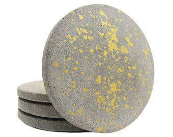 Gold Cement Coasters, Stone Coasters, Drink Coasters, Concrete Coasters, Table Decor, Gift for Her, Modern, Splatter, Handmade - Set of 4