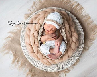 Newborn photo prop Basket Stuffer Wool Roving Wool Braid  Baby basket filler