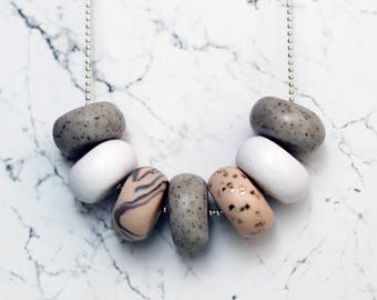 Blush & Granite Handcrafted Polymer Clay Necklace