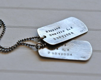 In Memory Mens Necklace Two Dog Tags Loved Ones Loss Memory Father Jewelry