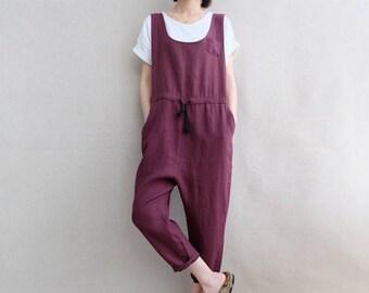 Women Overalls Comfortable Cotton Jumpsuits, Washed Linen Overalls Summer Leisure Pants Harem Pants Cropped Pants