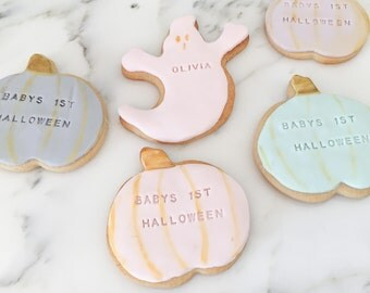 Baby's First Halloween Cookies -1 Dozen Personalized ( Baby shower / Baby's 1st Birthday) pastels and gold