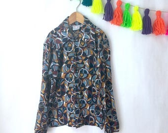 Vintage kids Billy the Kid printed shirt, 70s abstract printed muted tones shirt, kids retro style top, Size 10Y