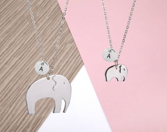 Mother and daughter elephant necklace, mother daughter necklace, elephant necklace, gift for mum, mum gift, mum and daughter necklace,