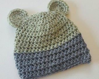 Bear Ear Beanie - 3-6 months - Meadow/Slate Pure Wool