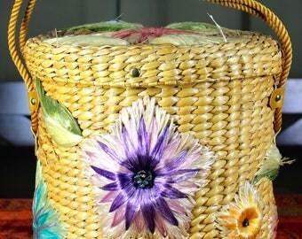 Large Circular Straw Flower Basket 1950's