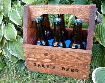 Personalized Beer Caddy - Beer Carrier - Beer Gift - Man Cave - Groomsman Gift - Free freezable insert - Bithday Gift - bottle opener